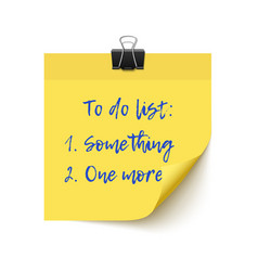 Yellow sticker paper post it checklist vector