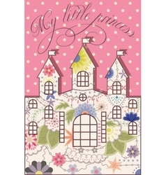 My little princess vintage background with castle vector image