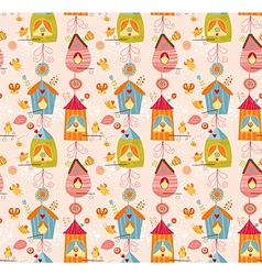 Funny bird nests seamless pattern vector image