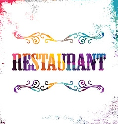 Restaurant sign bstract colorful triangle vector