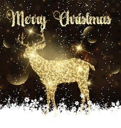 Christmas background with glittery deer vector