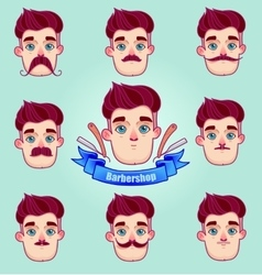 Set of different style mustaches vector