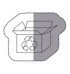 Sticker silhouette carton box with recycling vector