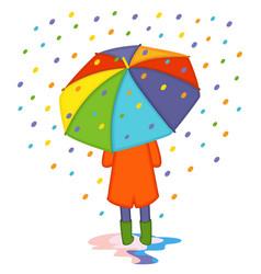 girl hiding from colored rain under umbrella back vector image