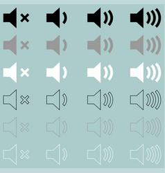 Loud or speaker white grey black icon loud or vector
