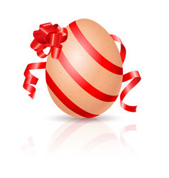 Single easter egg with red ribbon on white vector