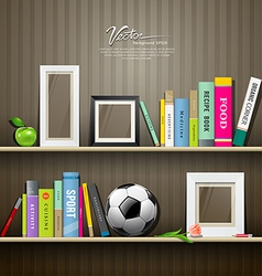 Row of colorful books on shelf vector image
