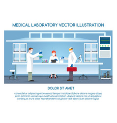 Chemical research laboratory with scientists vector
