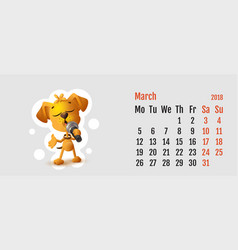 2018 year of yellow dog on chinese calendar vector image