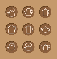 Flat design kettles icon set vector