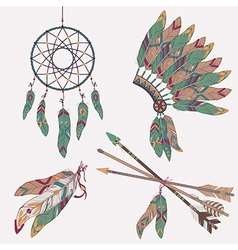 Colorful ethnic set with dream catcher feathers vector
