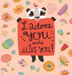 Loving panda vector
