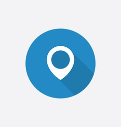 map pin Flat Blue Simple Icon with long shadow vector image