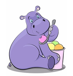 Funny hippo eating ice cream vector