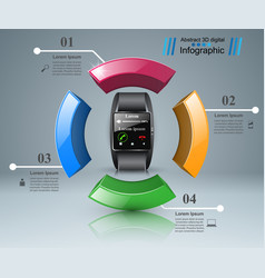 3d infographic smartwatch icon vector