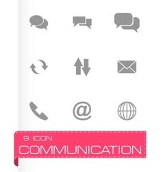 black communication icon set vector image