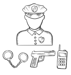 Policeman with handcuffs and gun sketches vector