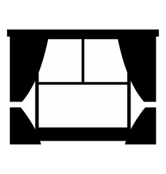 Window with curtains simple icon vector