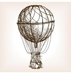 Vintage air balloon wheel hand drawn sketch vector image