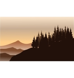 Silhouette of spruce on the hills vector