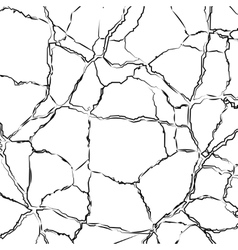 Texture cracked surface isolated on white vector