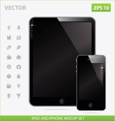 Realistic tablet with blank screen and iphone vector