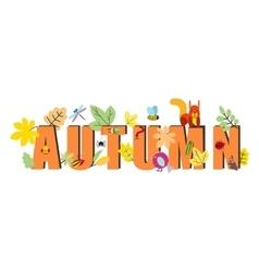 Autumn text design flat vector image