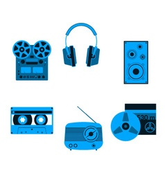 Blue music icons vector image