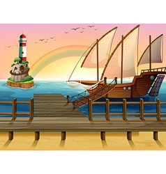 Boat and pier vector image