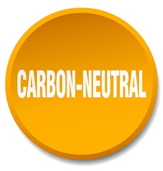 Carbon-neutral orange round flat isolated push vector