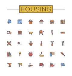 Colored housing line icons vector