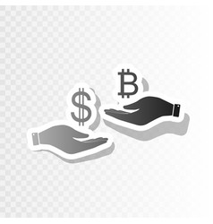 currency exchange from hand to hand dollar and vector image