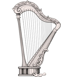 Decorated harp vector