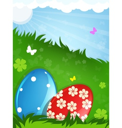 Easter eggs in the meadow vector image vector image
