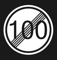 End maximum speed limit 100 sign flat icon vector
