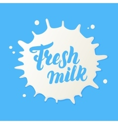 Fresh milk hand written lettering logo vector