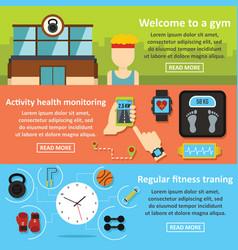 Gym training banner horizontal set flat style vector