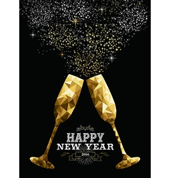 Happy new year 2016 toast glass low polygon gold vector image vector image