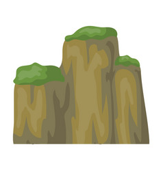 High green mountain with bushes on topdifferent vector