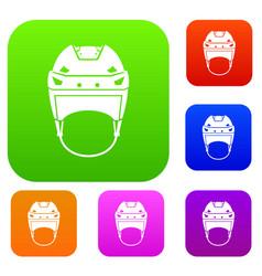 Hockey helmet set collection vector