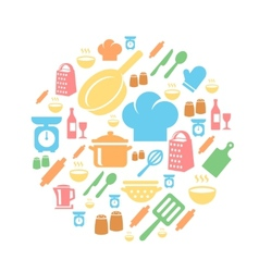 Kitchen and cooking icons background vector image