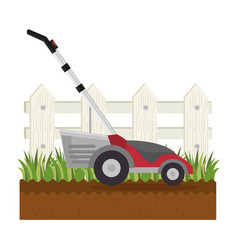 Lawn mower in garden vector