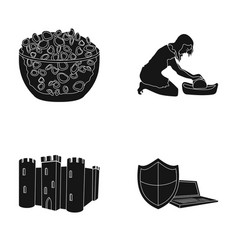 Products archeology and or web icon in black vector