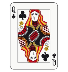 Queen of clubs vector