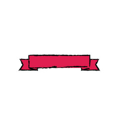 Red ribbon banner decoration empty vector