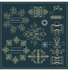 Set logos elegant ornament gold lines vector image vector image