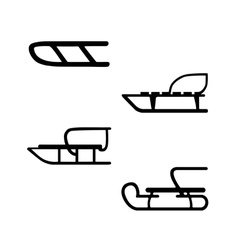 sled hand drawn set of four sleds vector image vector image