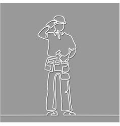 Standing builder man holding hammer vector