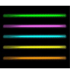 Tube halftone neon effect in multiple color vector
