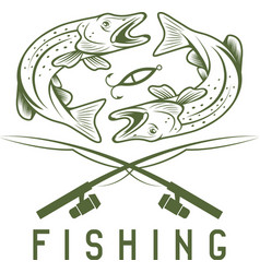 Vintage fishing design template with pike vector